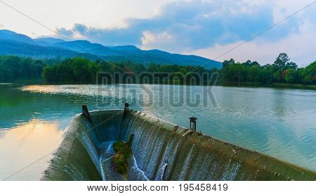 Spillway And The Mountain Blue Sky