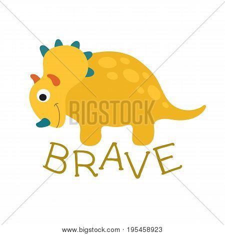Cute cartoon dino illustration. Brave. Vector illustration