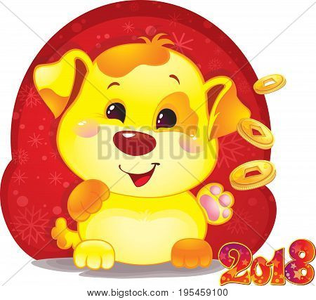 Cute Symbol of Chinese Horoscope - Yellow Dog with Golden Coins for the New Year