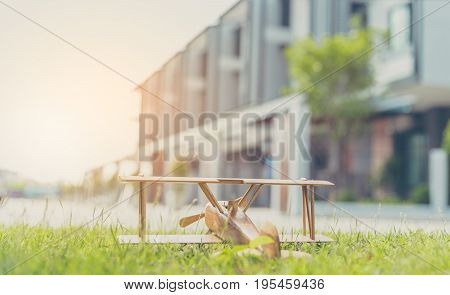 Wooden Plane Toy And Blur Townhouse