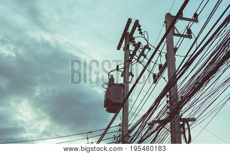 Busy Line On Electric Pole.