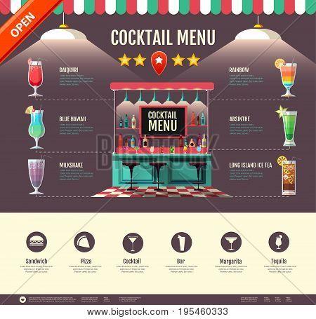Flat style cocktail bar design. Web site design. Cocktail menu