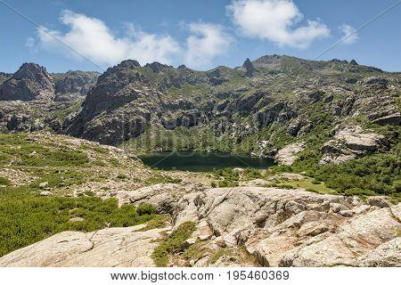 Lac De Melo Above Restonica Valley In Corsica