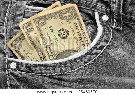 three dollar in bag of the jean