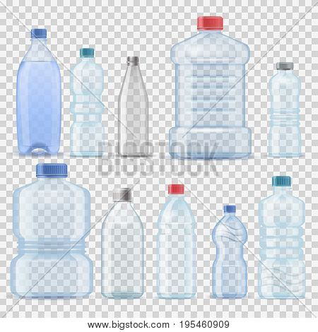 Water plastic clean bottle 3d realistic container barrel gallon template set vector illustration. Transparent mineral blank pack blue clean liquid element. Aqua fluid template company branding.