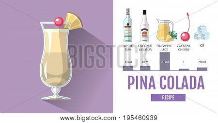 Flat style cocktail menu design. Cocktail pina colada  recipe