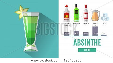 Flat style cocktail menu design. Cocktail absinthe recipe