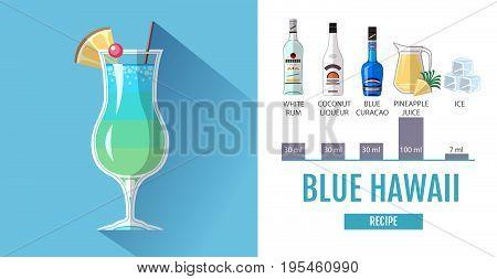 Flat style cocktail menu design. Cocktail blue hawaii recipe