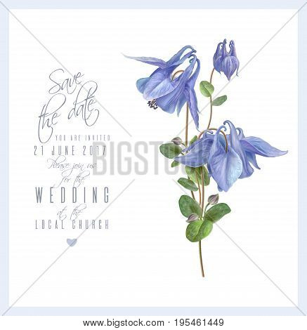 Vector wedding invitation card with elegant blue flowers isolated on white background. Can be used as floral design for natural cosmetics, perfume, health care products and greeting cards
