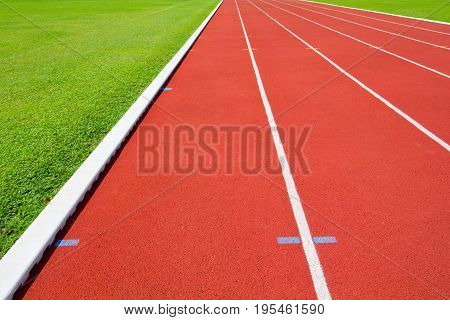 Vivid color in empty  running track .