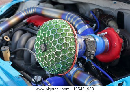 Race car air filter,circular type with mesh.