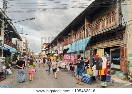 LAMPANG THAILAND -MAY 28 2016 :Kad Kong Ta Street Market .The city center old town building marketing and trading of tourists come to buy souvenirs.Lots of different foods in Lampang Thailand.