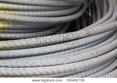steel bars or steel reinforcement bar used at construction site .