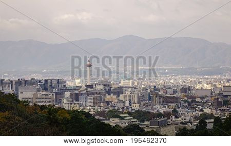 Aerial View Of Kyoto City In Kansai, Japan