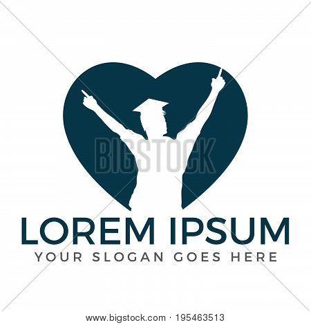 Student heart shape vector logo design .