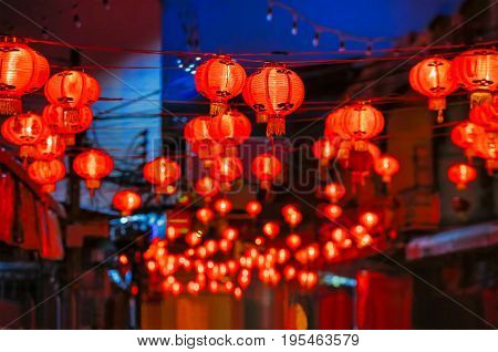 Chinese new year lanterns in china town .
