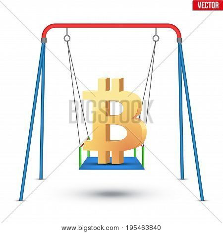 Concept illustration of digital currency bitcoin fluctuation. Golden Bitcoin Symbol on the swing.