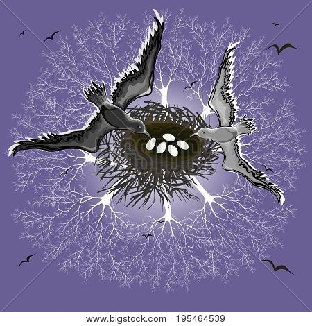 Vector illustration of a married couple of birds over their nest over a bare forest
