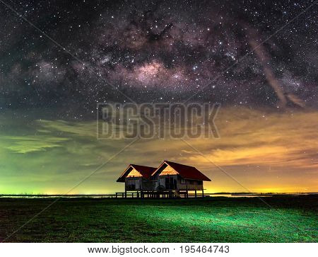 The center of the milky way galaxy.Star-catcher. sky night background blurred.