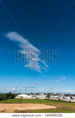 image of green field near the house in villa and cloudy blue sky for background usage.(vertical)