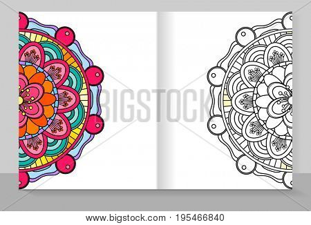 Cover copybook with a mandala coloring.