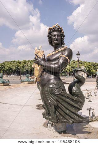 ParisFrance- April 29 2017: On the Place de la Concorde Fountain of the Rivers