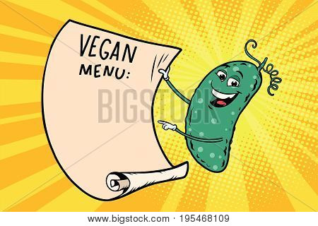 Vegetarian menu announces cucumber. Retro comic book style cartoon pop art vector illustration