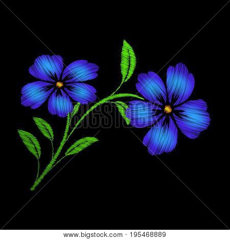 Embroidered blue flowers on black background Vector embroidered floral template with flowers for clothing design.