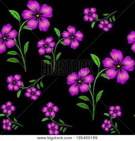 Embroidered purple flowers on black background seamless pattern. Vector embroidered floral template with flowers for clothing design.