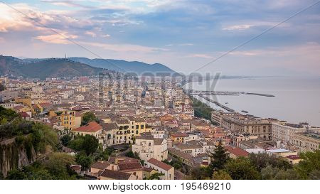 View of Salerno city at sunset Campania Italy