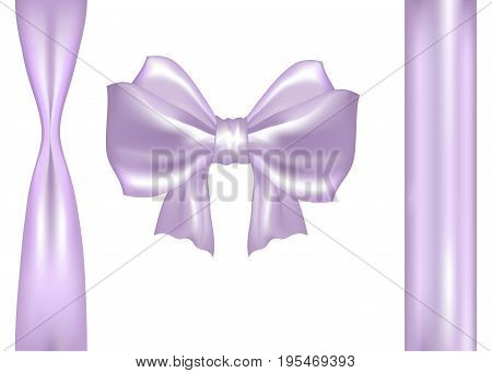 Pastel Pink Purple Satin Vector Bow with Ribbons