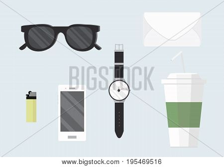 Flat design concept vector illustration of every day carry and outfit accessories. Icons collection in stylish colors. on light background. EPS10.