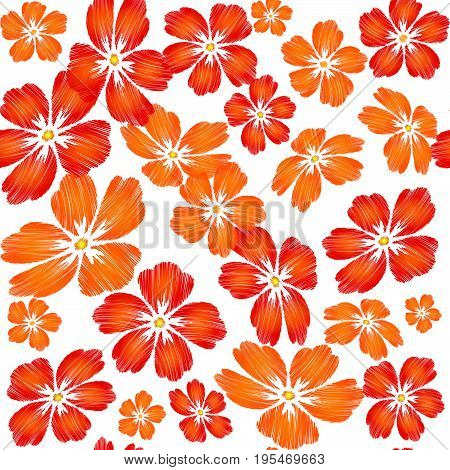 Embroidered red orange flowers on white background seamless pattern. Vector embroidered floral template with flowers for clothing design.