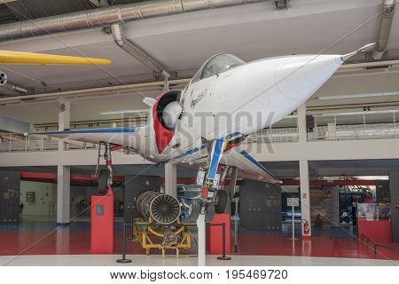 Le Bourget Paris France- May 042017: Dassault Mirage 2000-01 (1978) in the Museum of Astronautics and Aviation Le Bourget
