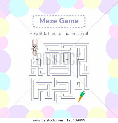 vector illustration. game for preschool children. square maze or labyrinth for kids. cartoon cute hare and carrot.