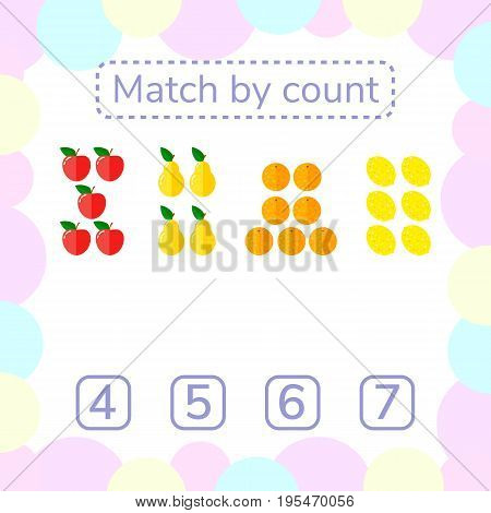 vector illustration. counting game for preschool children. mathematical game. count the items in the picture and choose the right answer. rebus for children. Apples, pears, oranges, lemons.