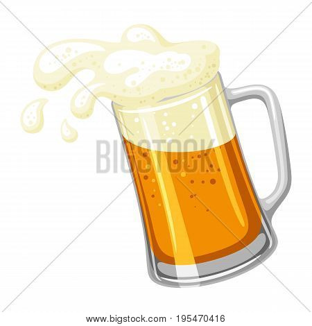 Mug with light beer and froth. Illustration for Oktoberfest.