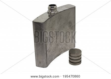 Stainless hip flask isolated on the white background with clipping path. Silver hip flask for whiskey.