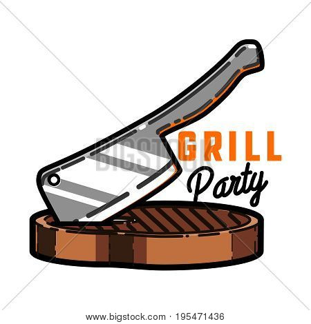 Color vintage grill party emblem for grill bar and bbq. Vintage grill restaurant emblems, logo, stickers and design elements.
