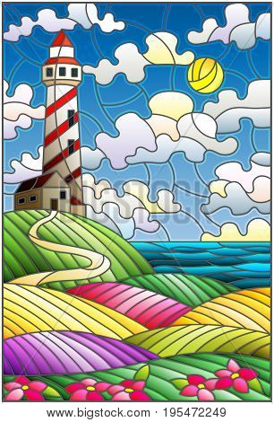 Illustration in stained glass style lighthouse on the backdrop of flowering fields against cloudy sky and sun