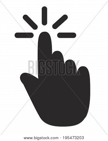 hand click icon on white background. click icon sign. flat design style. click icon stock.