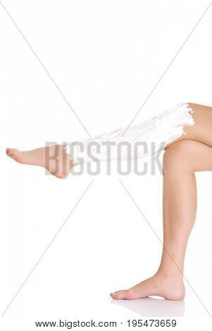Beautiful well-groomed female legs . Foot care .