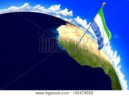 Sierra Leone national flag marking the country location on world map. 3D rendering, parts of this image furnished by NASA