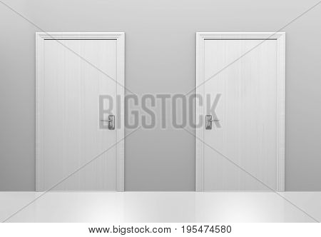 Choice of two doors to different choices or decisions, 3D rendering