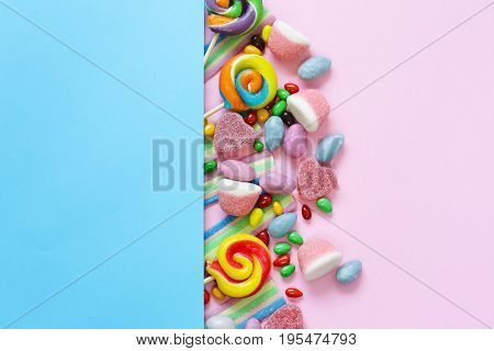Sweet multicolored dragées candy and jelly sweets
