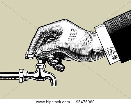 Hand opening water tap. Vintage stylized drawing