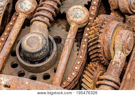 Grunge Rusty Metal Components Of Industrial Machine. Old Machinery Parts.