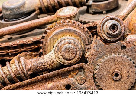 Old Corroded Mechanical Gear Cogwheels And Sprockets