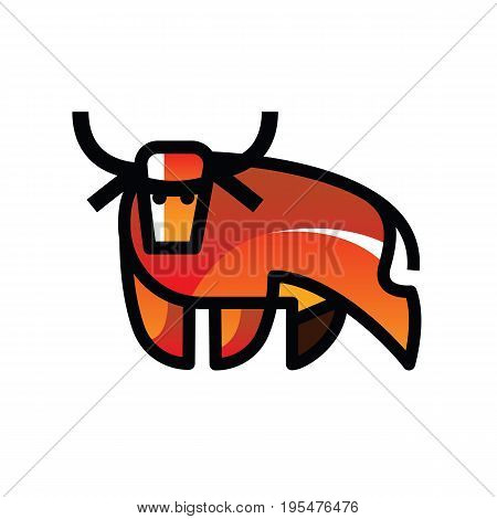 Colorful motley stylized drawing of stand bull or cow for signs, icons and symbols