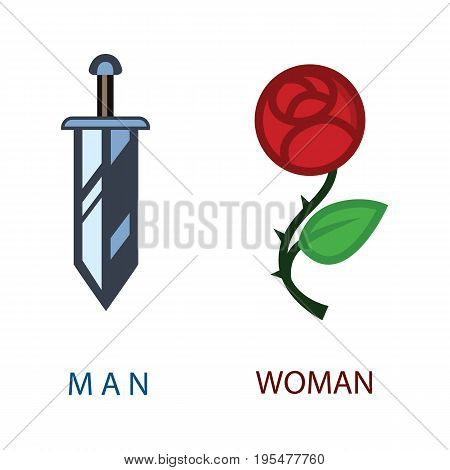wc icon - toilet sign in romantic funny style - toilet door vector symbol